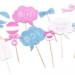 Pastel Baby Gender Reveal - Photo Booth Props 10pc